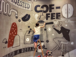 新蒲崗 Pacific Coffee 牆身壁畫
