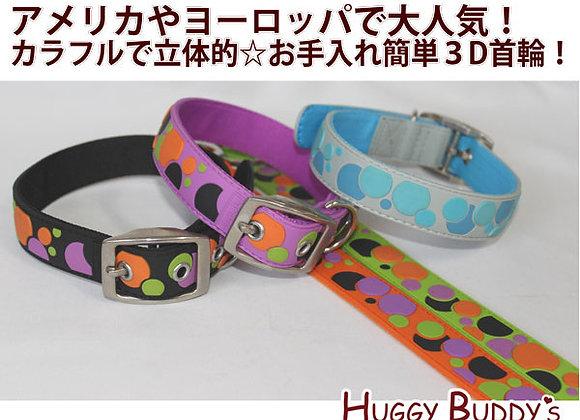 ★3Dドッグカラー★犬用首輪★ドット柄★ペット用品 全5色