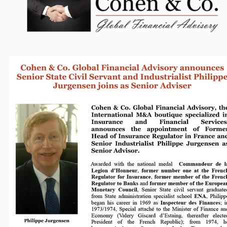 Philippe Jurgensen, Former Head of France Insurance Regulator joins as Senior Adviser - Jan 2016