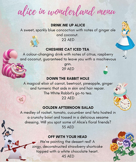 Alice in Wonderland Limited Editon Menu