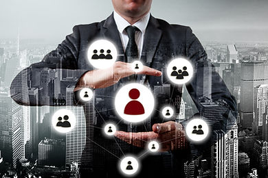 Hand carrying businessman icon network -