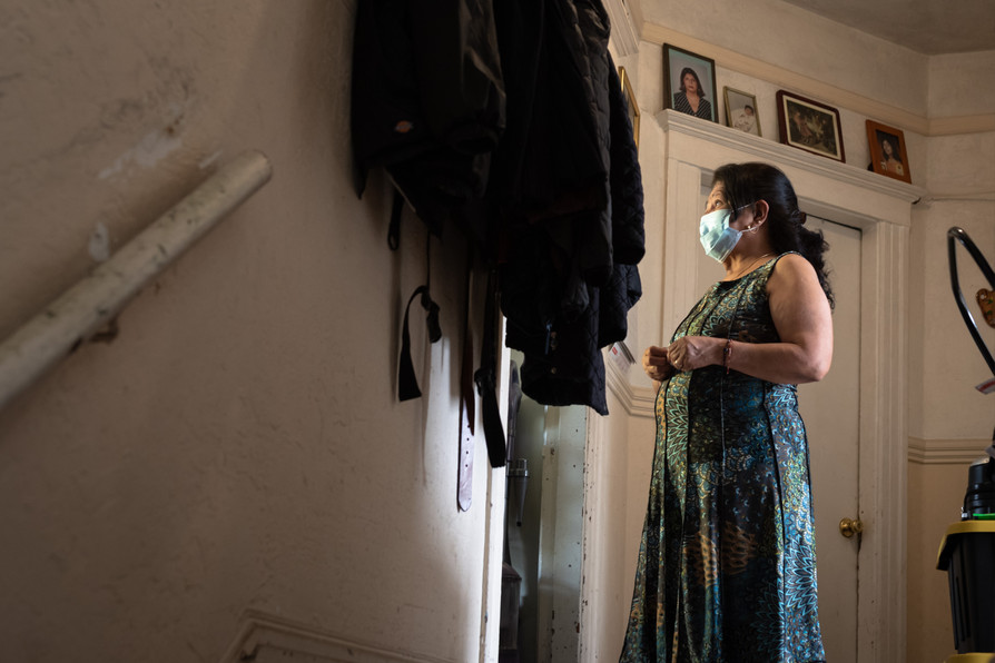 Maria Del Prosario, a Latino Cultural District Mission resident with preexisting conditions or unable to leave their homes during quarantine is tested via mobile in-home services partnered with Unidos en Salud.
