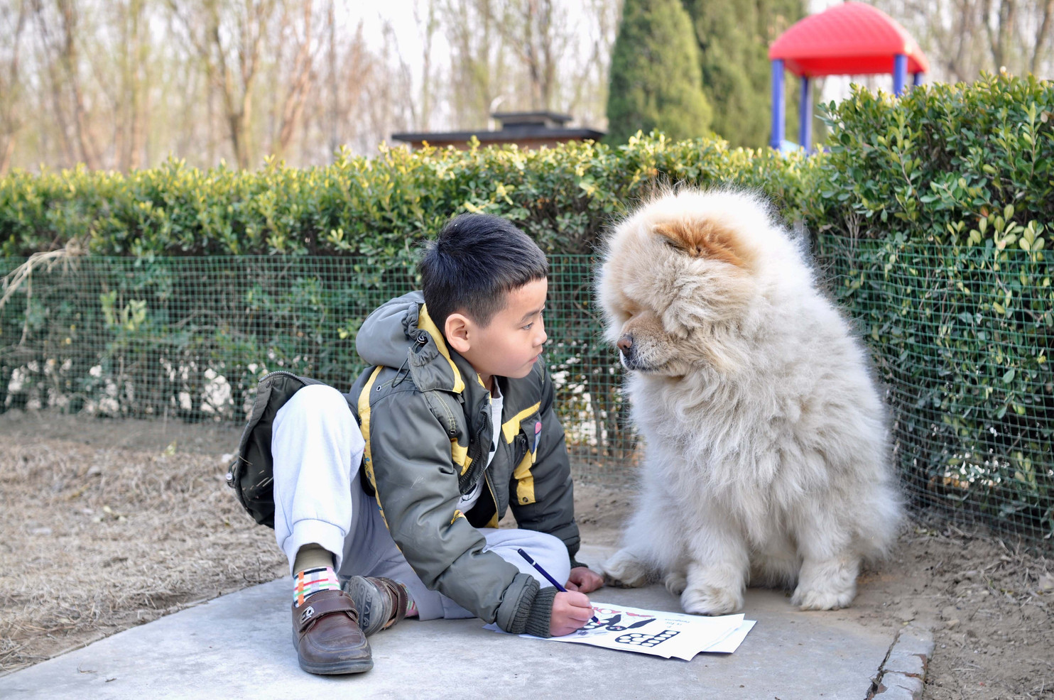 Xiao Dong, an orphan at New Hope Foster Home colors with Xiao Xiong the foster home's dog. During Xiao Dong's daily tutoring lessons, class was outside if he behaved.