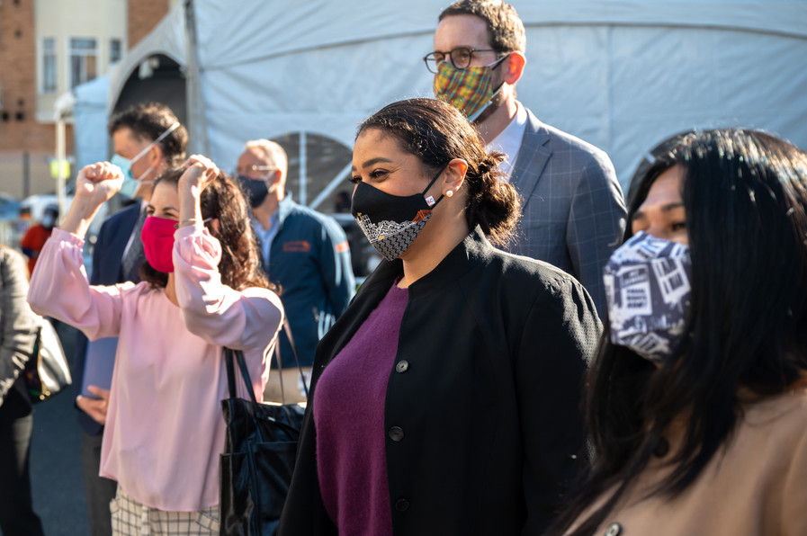 San Francisco Mayor London Breed, District 9 Supervisor Hillary Ronen, and California State Senator Chair Scott Wiener cheer on one of the first vaccinations during the opening of Unidos En Salud's first mass vaccination site.