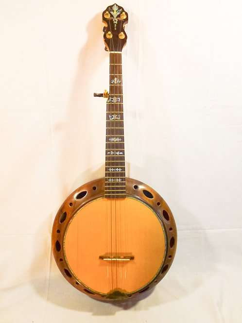 "A ""one off"" Short scale banjo with a timber (spruce?) top"