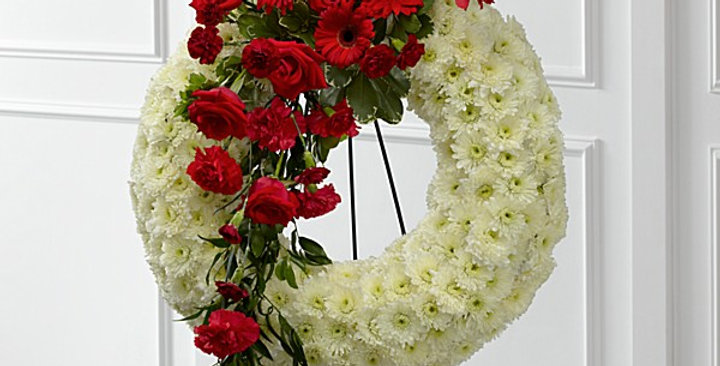 White Tribute Wreath with Red Spray
