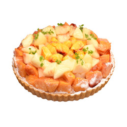 3種の桃のタルト