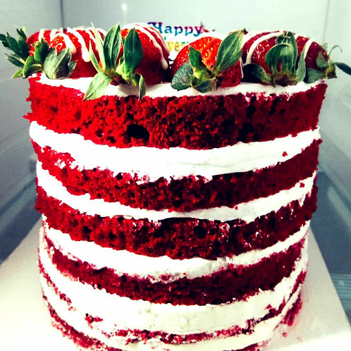 Rich Red Velvet With Cherry Cake