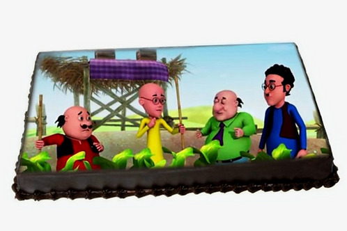 Motu Patlu Photo Vanilla Cake
