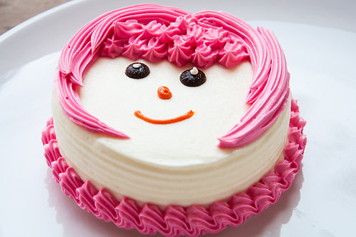 Smiley Fresh Cream Vanilla Cake