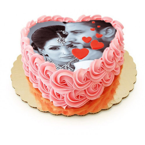 Rose Late Heart Shape Strawberry Photo Cake