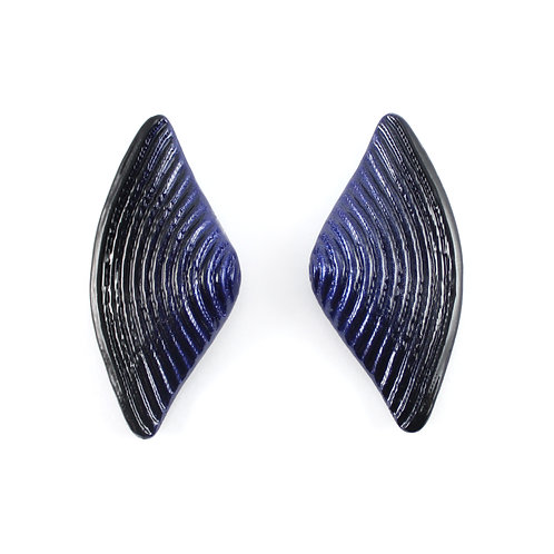 Blue-Black Bow Earrings