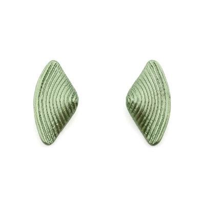 Green Bow Stud Earrings