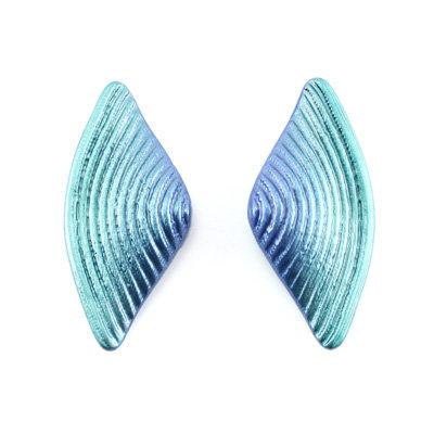 Blue-Green Bow Earrings