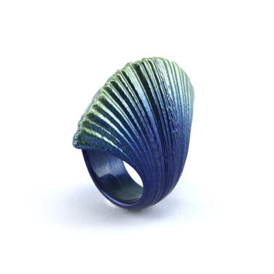 Blue-Green Wrinkle Ring