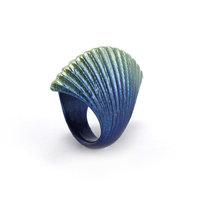 Blue-Green Scallop Ring
