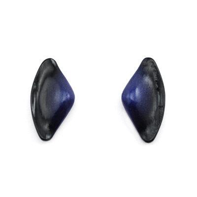 Blue-Black Tail Stud Earrings