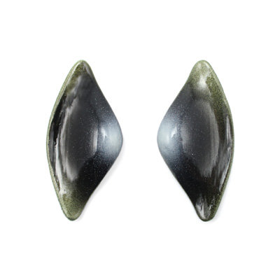 Green-B/W Tail Earrings