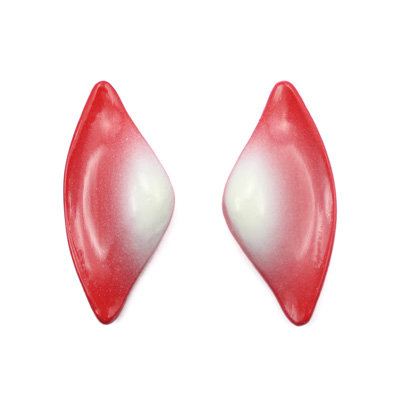 Red-White Tail Earrings