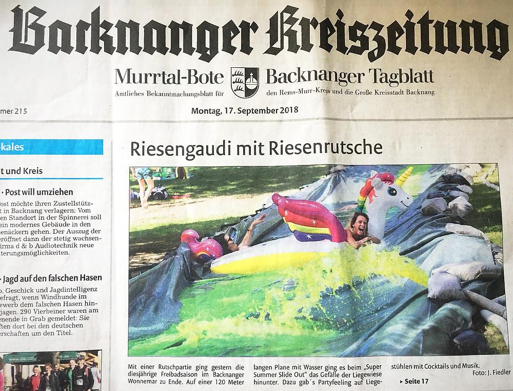 BKZ Titelblatt 17.09.2018 - Riesengaudi mit Riesenrutsche
