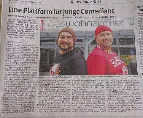 Pressebericht Backnanger Kreiszeitung 09.11.2015 Comedy Stage im Wohnzimmer