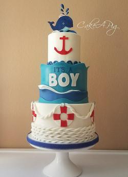 nautical its a boy cake whale