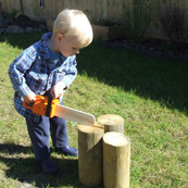 Wooden Chainsaw Toy - Orange