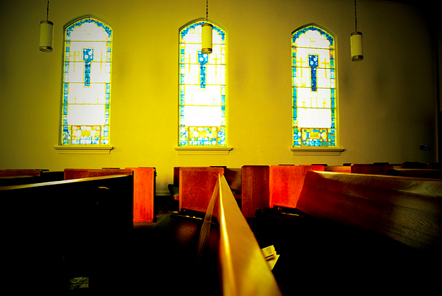 church pews stained glass window