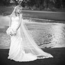 beautiful bride by lake