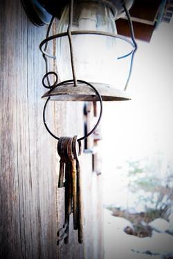 Keys on lamp garden shed