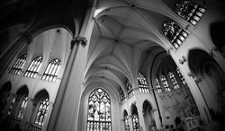 church interior black white