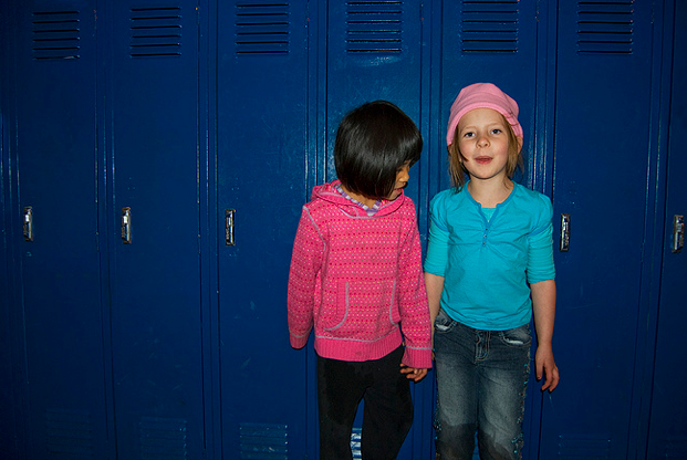 two girls lockers school