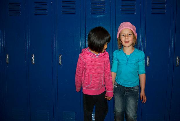 two girls lockers school
