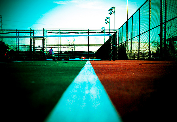 tennis court cross processed