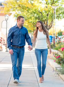 couple engagement photo denver