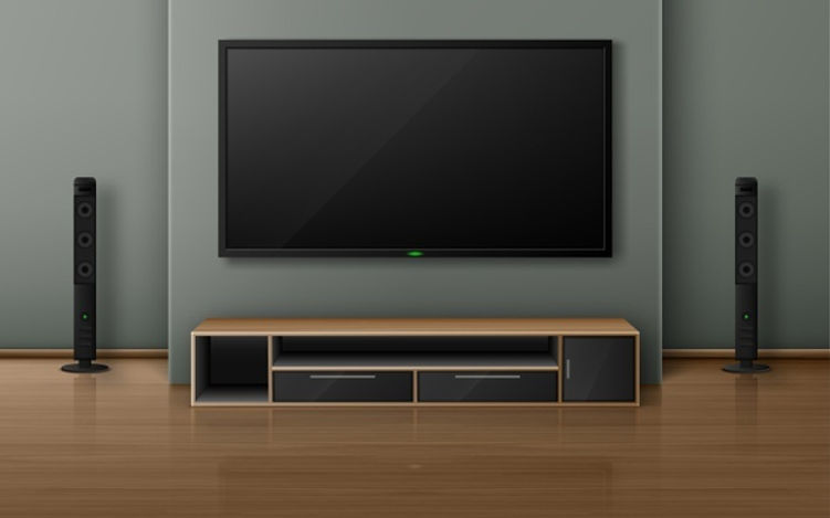 home-theater-with-tv-screen-speakers-modern-living-room-realistic-interior-with-plasma-tel