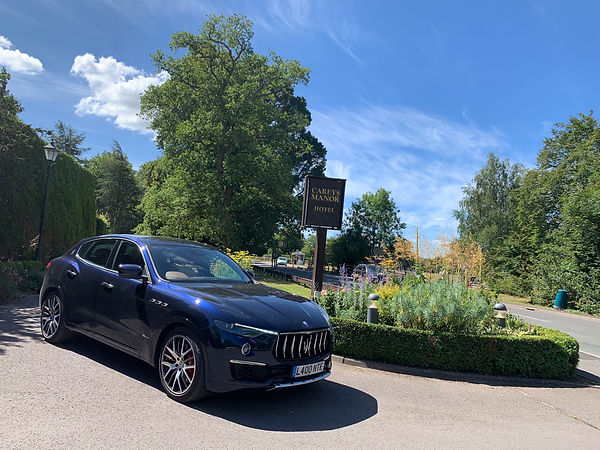 Maserati outside Careys Manor hotel pic
