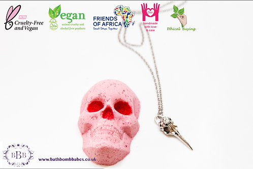 Skull bath bomb with hidden bird skull necklace hand painted and boxed