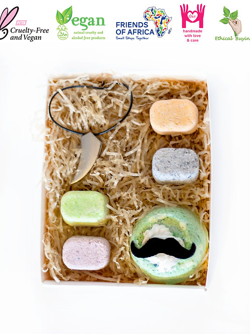 Moustache Topped Bath Bomb with Chill Pills and Fashion Necklace