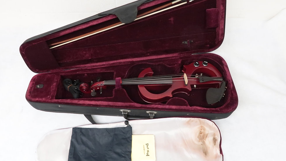 Electric S Shaped Violin Red Wood W/ Case