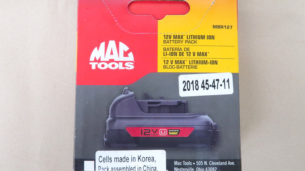 MAC Tools 12v Max Lithium Ion Battery Pack R-spec MBR127