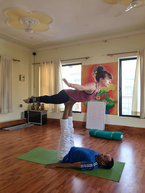 Some Acro Yoga thrown in with our Hatha Teacher