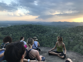 Meditation near a temple, high above the jungle