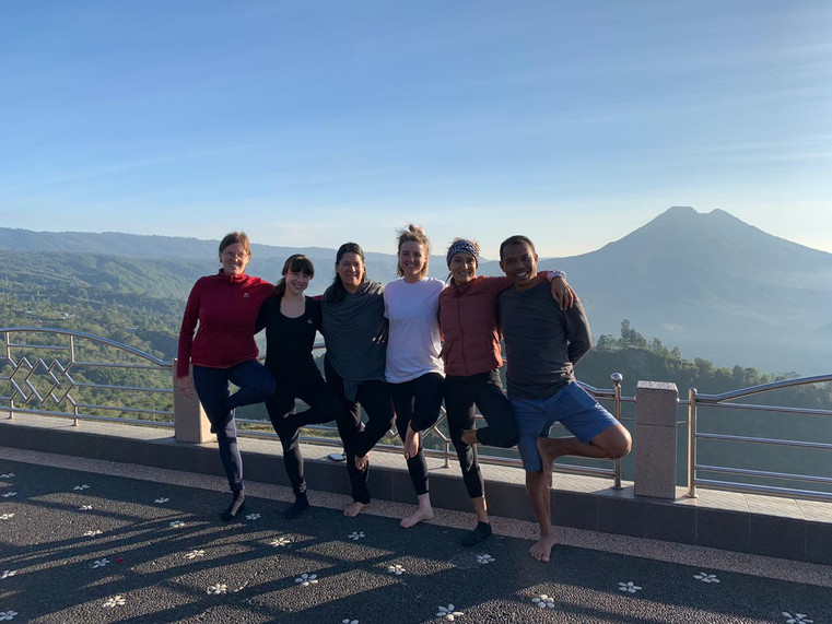 Sunrise Yoga with view of Mount Batur
