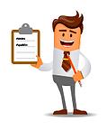 hombre con formulario completo