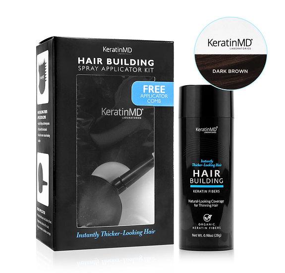 HAIR BUILDING FIBERS (Dark Brown) 60 Day Supply + APPLICATOR