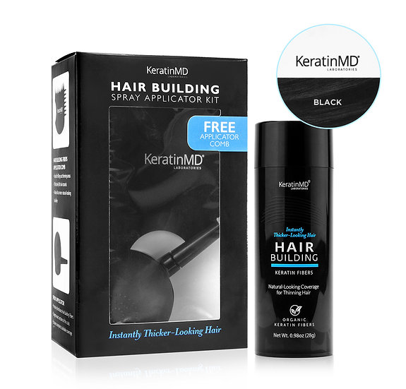 HAIR BUILDING FIBERS (Black) 60 Day Supply + APPLICATOR
