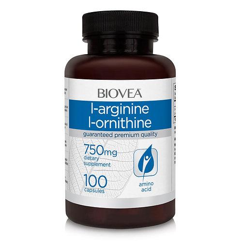 L-ARGININE / L-ORNITHINE (750mg) 100 Capsules