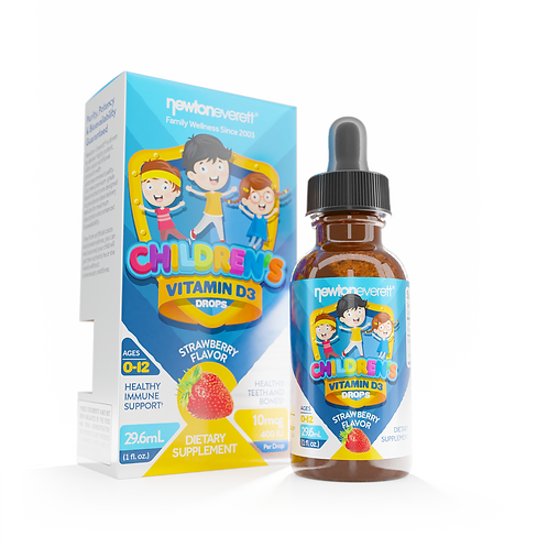CHILDREN'S VITAMIN D3 LIQUID DROPS 10mcg 400 IU Strawberry 1oz