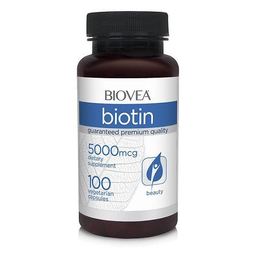 BIOTIN 5000mcg 100 Vegetarian Capsules